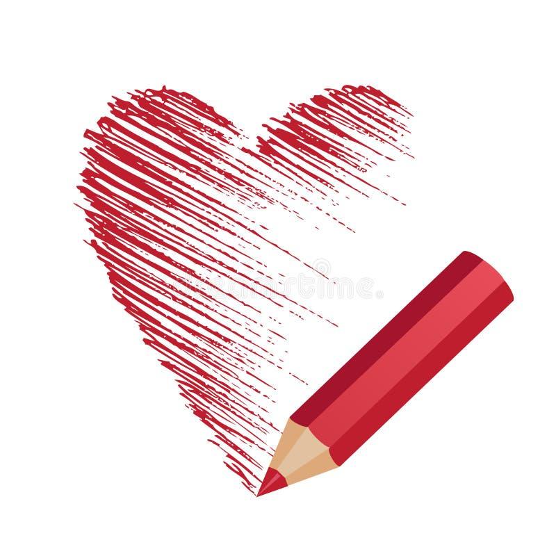 Het potlood trekt het hart vector illustratie