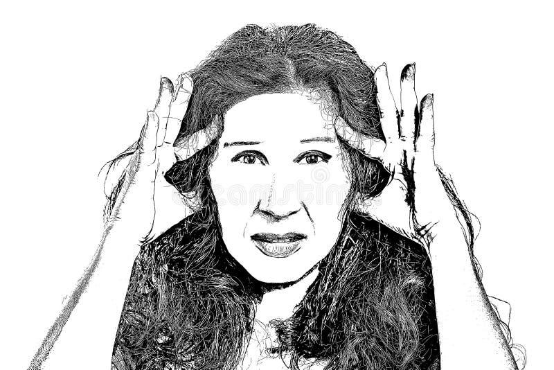 Het potlood trekt van vrouw met hoofdpijn royalty-vrije illustratie