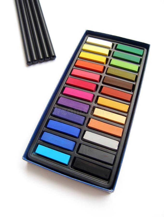 Het potlood van de de pastelkleurenhoutskool van de kunstenaar royalty-vrije stock afbeelding