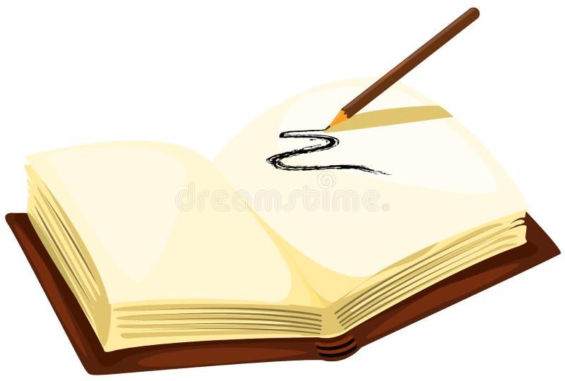 Het potlood van de tekening met leeg boek royalty-vrije illustratie