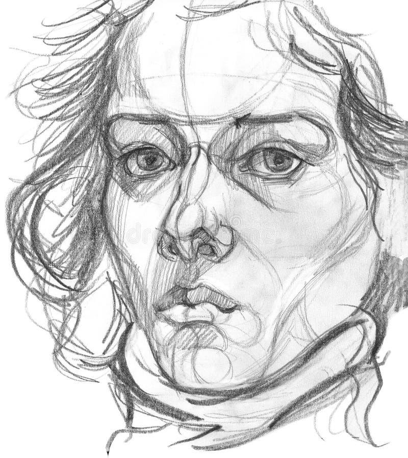 Het potloodschets van het vrouwen` s portret royalty-vrije illustratie