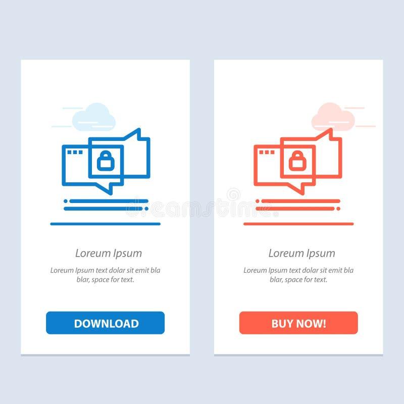 Het praatje, het Babbelen, de Veiligheid, de Veilige Blauwe en Rode Download en kopen nu de Kaartmalplaatje van Webwidget stock illustratie