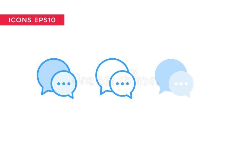 Het praatje, berichtpictogram in lijn, overzicht, vulde overzicht en vlakke die ontwerpstijl op witte achtergrond wordt geïsoleer vector illustratie