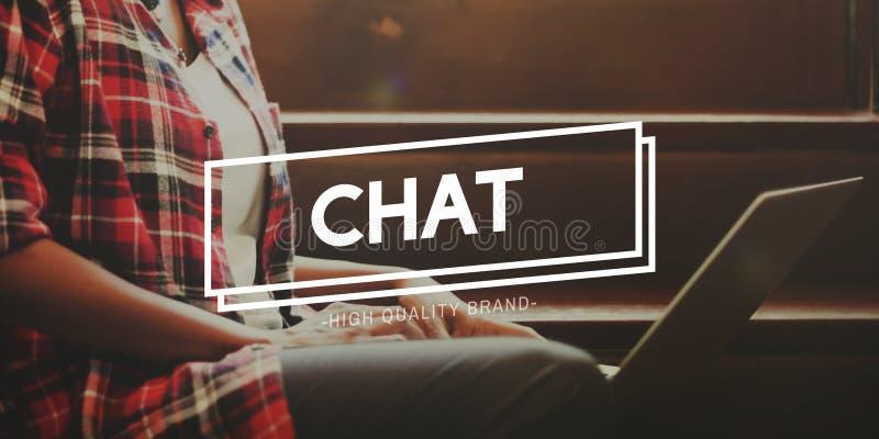 Het praatje communiceert de Online Mededeling Concept verbindt royalty-vrije stock foto