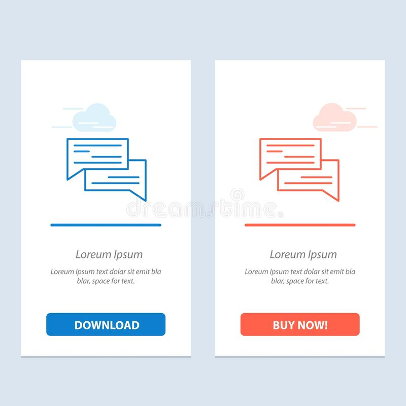 Het praatje, de Bel, de Bellen, de Mededeling, het Gesprek, de Sociale, Toespraak Blauwe en Rode Download en kopen nu de Kaartmal vector illustratie
