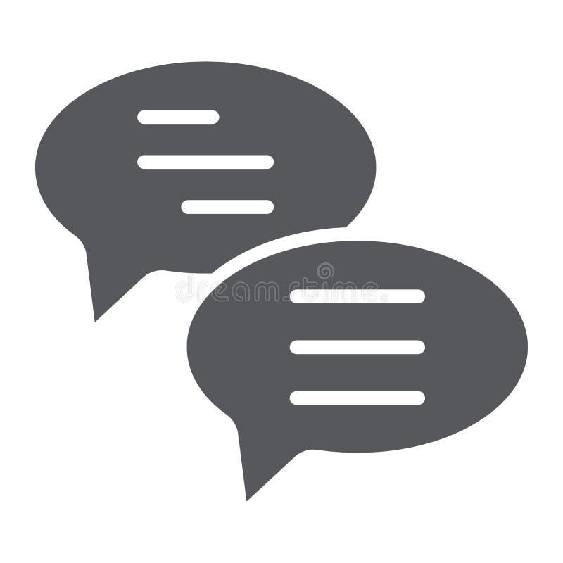 Het praatje glyph pictogram, het bericht en de mededeling, toespraakbellen ondertekenen, vectorafbeeldingen, een stevig patroon o stock illustratie