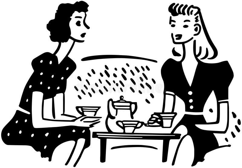 Het Praatje van de theetijd royalty-vrije illustratie