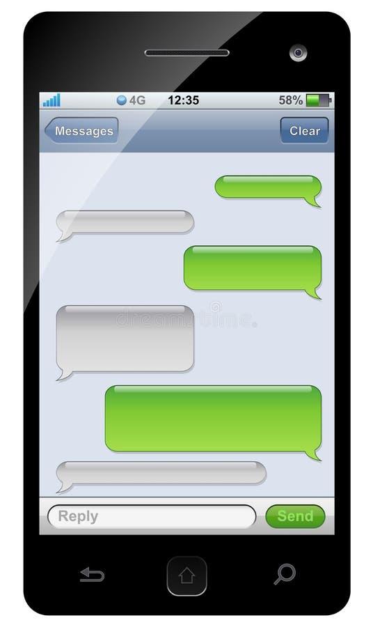 Het praatjemalplaatje van Smartphone sms stock illustratie