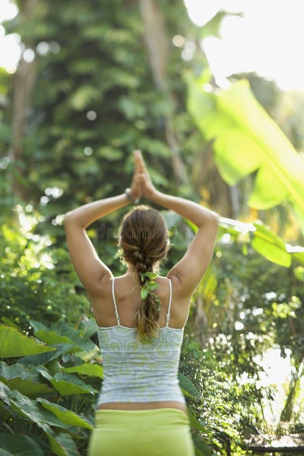 Het praktizeren van de vrouw yoga. stock fotografie