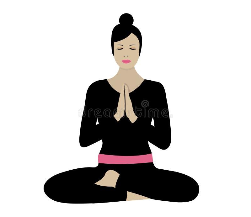 Het praktizeren van de vrouw yoga stock illustratie