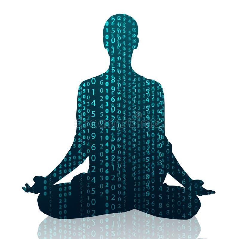 Het praktizeren van de vrouw yoga in de lotusbloempositie vector illustratie