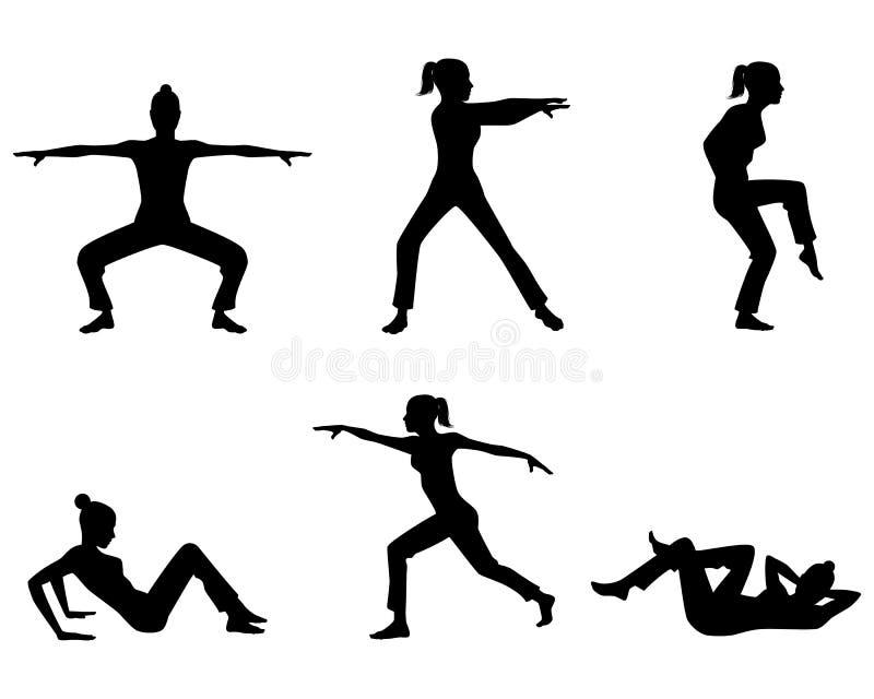 Het praktizeren van het meisje yoga royalty-vrije illustratie