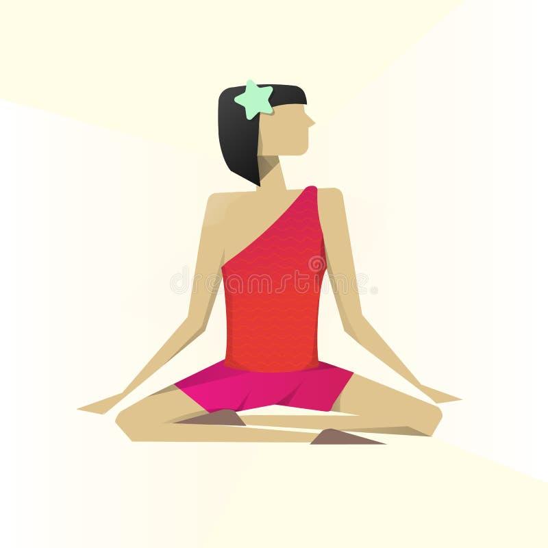 Het praktizeren van het meisje yoga Lotus-asana Lotus stelt, namaste royalty-vrije illustratie