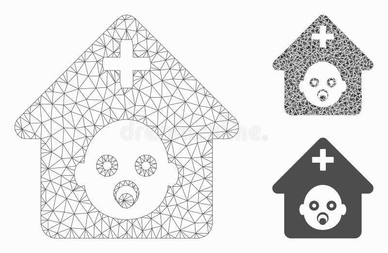Het prenatale Ziekenhuis Vector het Mozaïekpictogram van Mesh Network Model en van de Driehoek royalty-vrije illustratie