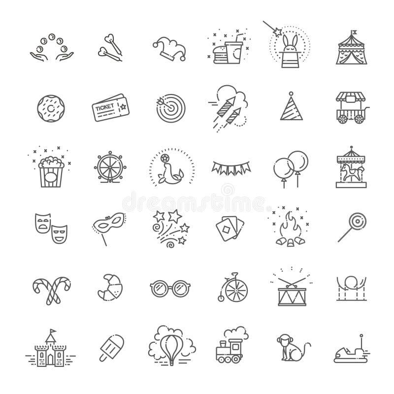 Het pretpark zingt reeks De dunne pictogrammen van de lijnkunst Lineaire die stijlillustraties op wit worden geïsoleerd royalty-vrije illustratie