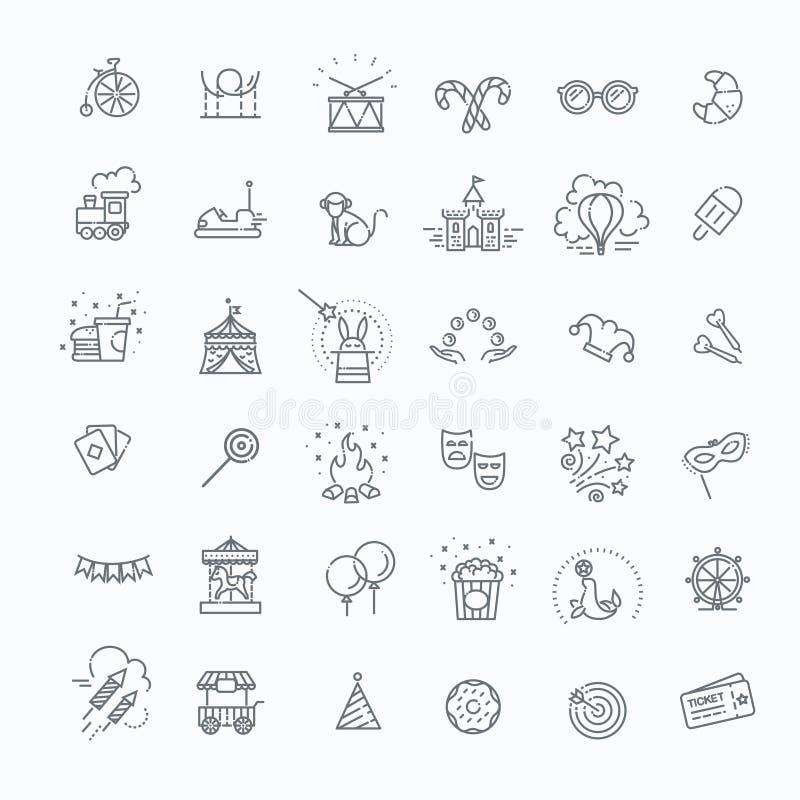 Het pretpark zingt reeks De dunne pictogrammen van de lijnkunst lineaire stijl vector illustratie