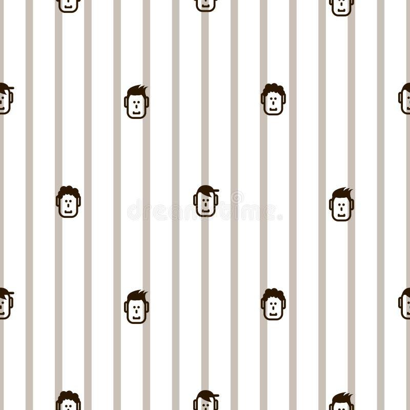 Het pretpictogram ziet gestreept naadloos vectorpatroon onder ogen royalty-vrije illustratie