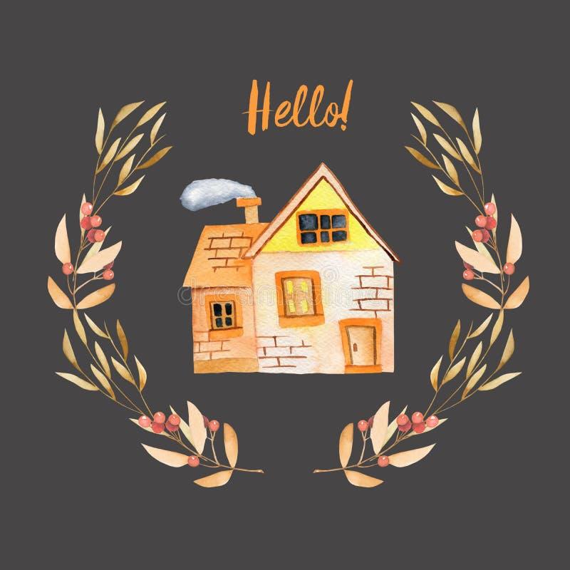 Het privé huis van het waterverfbeeldverhaal binnen bloemenkroon in de herfstschaduwen vector illustratie