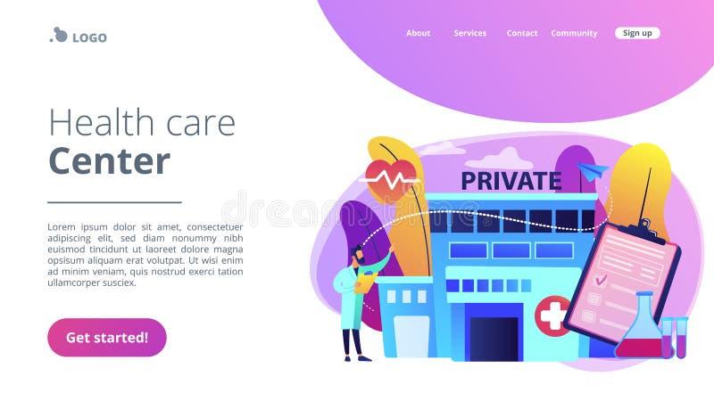 Het privé landingspagina van het gezondheidszorgconcept vector illustratie