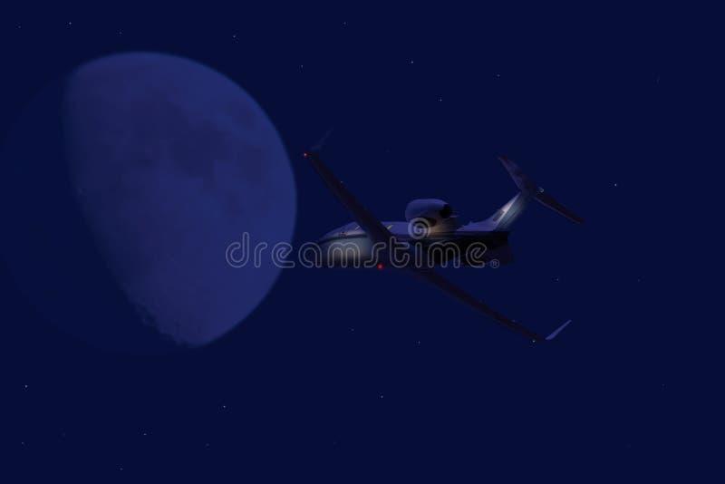 Het privé straal vliegen bij nacht stock afbeeldingen