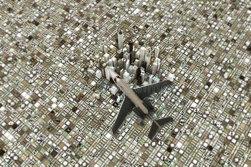 Het privé straal vliegen over het district van de binnenstad royalty-vrije illustratie