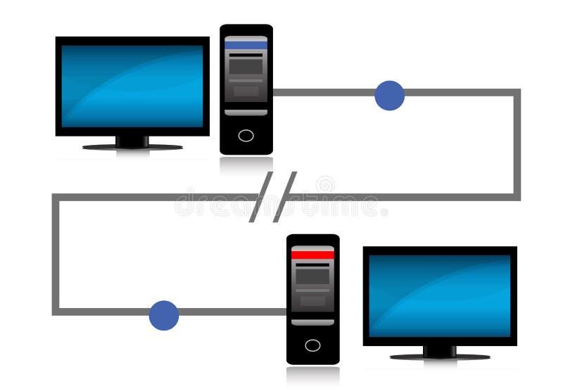 Het probleem van de aansluting tussen twee computers vector illustratie