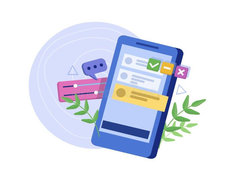 Het proces om interface voor smartphone te ontwikkelen Gebruikersinterfaceervaring, bruikbaarheid, model, wireframe ontwikkeling vector illustratie
