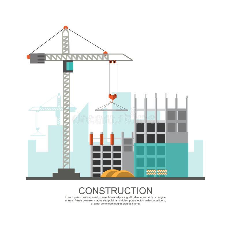 Het proces van het bouwterreinwerk in aanbouw met kranen en ma stock illustratie