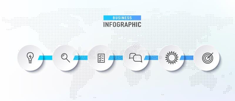 Het proces van de Infographchronologie met cirkels Diagramstroomschema met pictogrammalplaatjes Vector illustratie stock illustratie