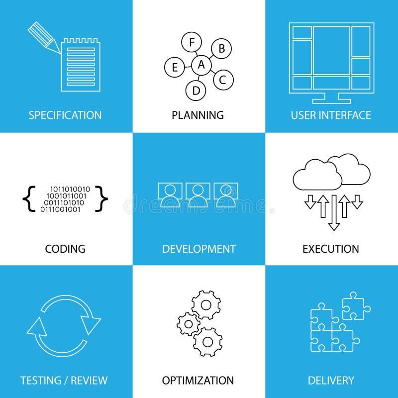 Het proces van de software-ontwikkelinglevenscyclus - grafische conceptenvector royalty-vrije illustratie