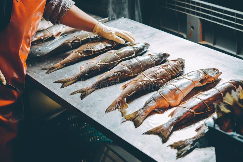 Het proces van de vissenfabriek royalty-vrije stock afbeelding