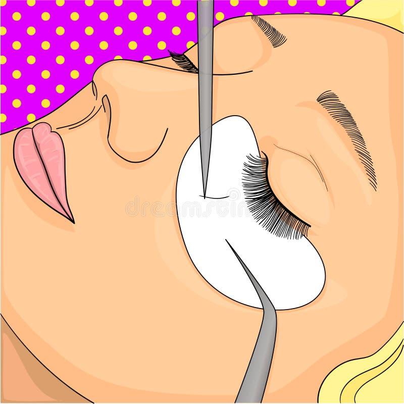 Het proces van wimperuitbreidingen in de schoonheidssalon De illustratie van de pop-artrooster Imitatie grappige stijl vector illustratie
