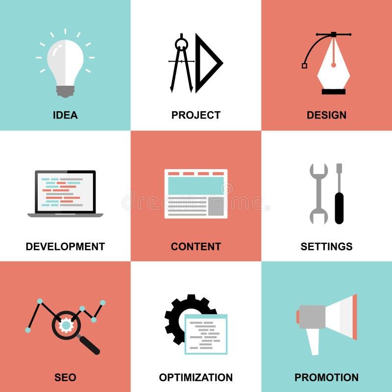Het procespictogrammen van het websiteproject vector illustratie