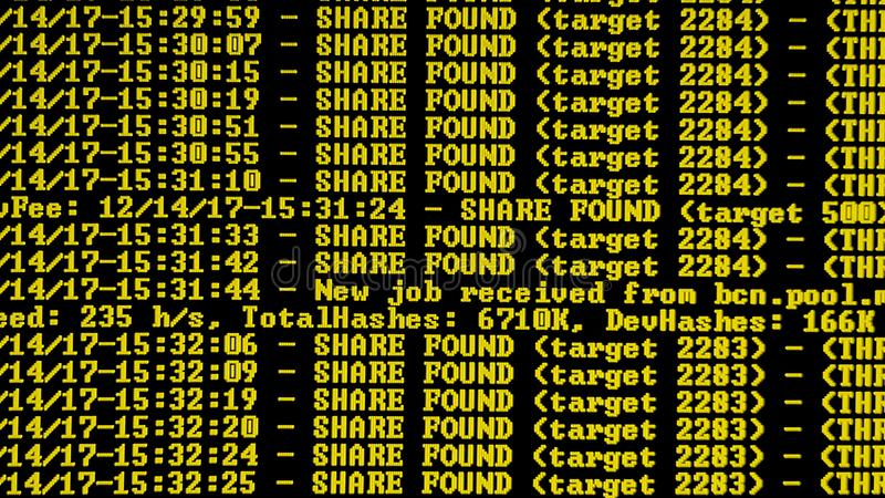 Het procesprogramma van mijnbouwcryptocurrency over vertoningspc Het gebruiken van Software Gevonden aandeel stock foto's