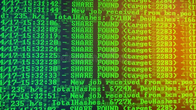Het procesprogramma van mijnbouwcryptocurrency over vertoningspc Het gebruiken van Software Gevonden aandeel stock afbeelding