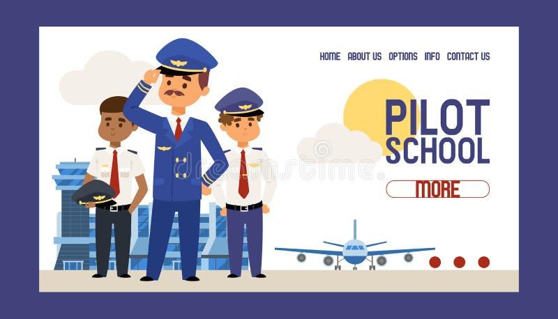 Het proef de vliegtuigbemanningstudie van de school vectorwebpagina en van het mensenkarakter het loodsen vliegtuig die van het v stock illustratie