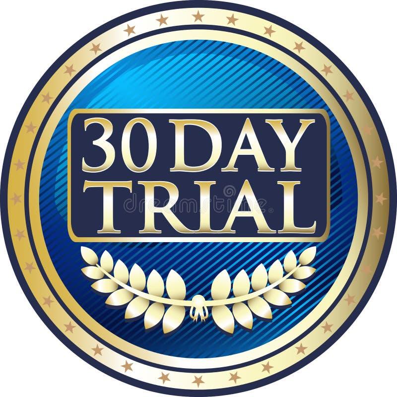 Het Proef Gouden Etiketpictogram van dertig dagen vector illustratie