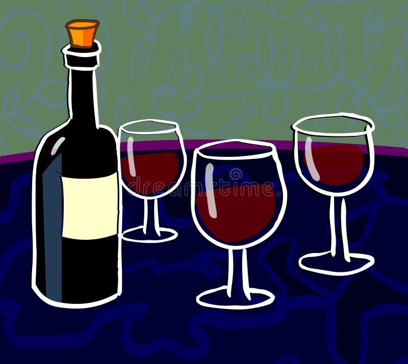 Het proeven van de wijn royalty-vrije illustratie
