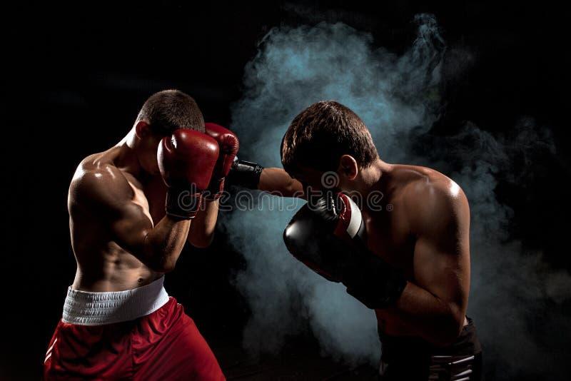 Het professionele bokser twee in dozen doen op zwarte rokerige achtergrond, stock afbeeldingen