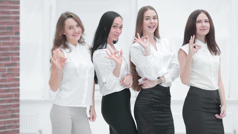 Het professionele commerci?le team die gebaar tonen is O.K. professioneel het werkconcept stock afbeeldingen