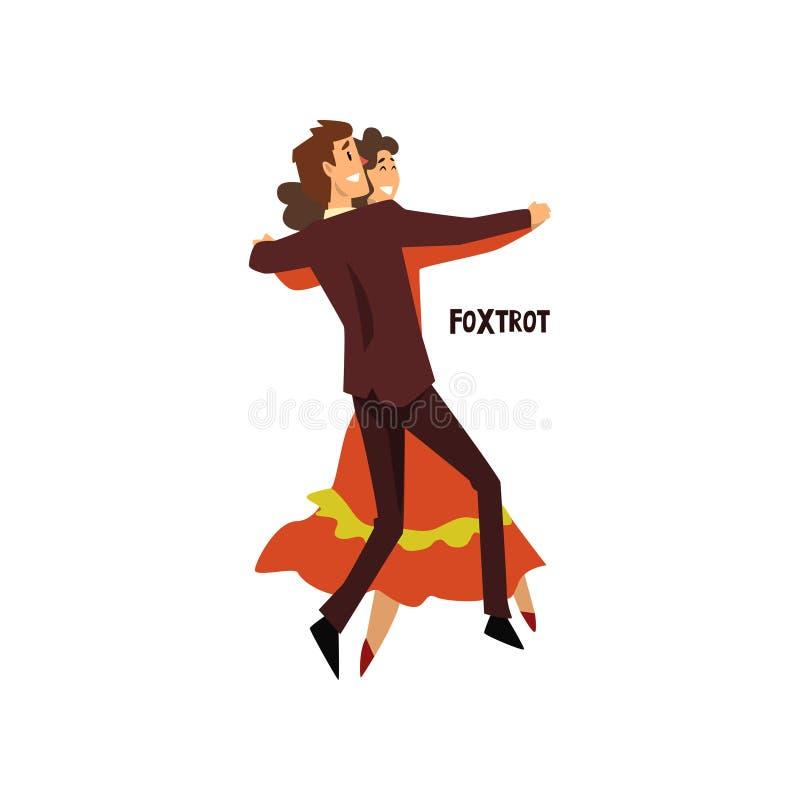Het professionele danserspaar foxtrot, het paar die van de jonge mens en vrouw kleedden zich in elegante kleding uitvoerend dans  stock illustratie