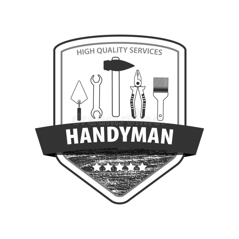 Het professionele embleem van de manusje van allesdiensten Reeks reparatiehulpmiddelen Logo Handyman met houten textuur Voorraadv stock illustratie