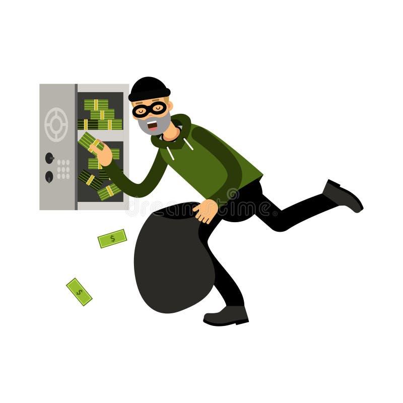 Het professionele gemaskeerde stealing geld van het inbrekerkarakter van een open veilige Illustratie royalty-vrije illustratie