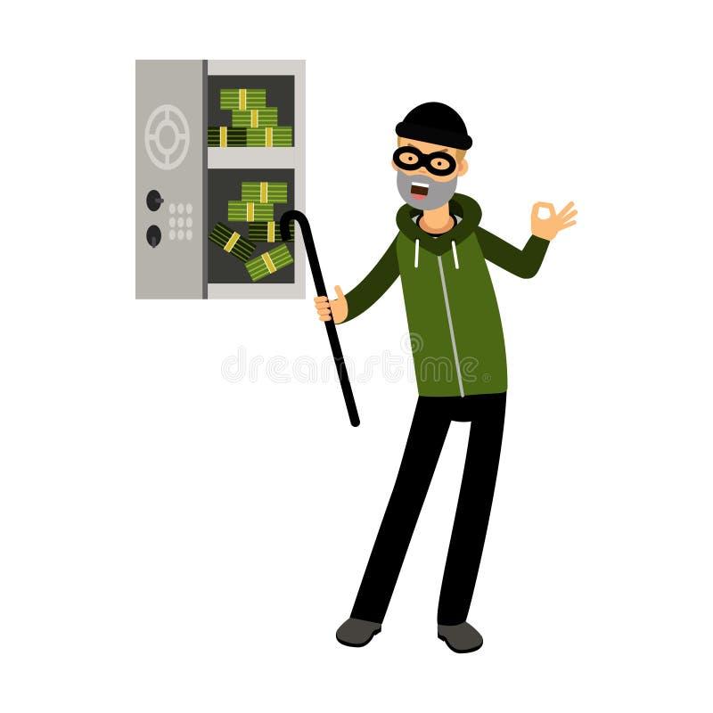 Het professionele inbrekerkarakter in een masker opende een brandkast met geld met karakterillustratie vector illustratie