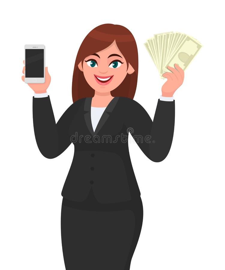 Het professionele jonge onderneemster tonen/holding de nieuwe recentste mobiel, cel, smartphone & contant geld/geld/nota's van he stock illustratie
