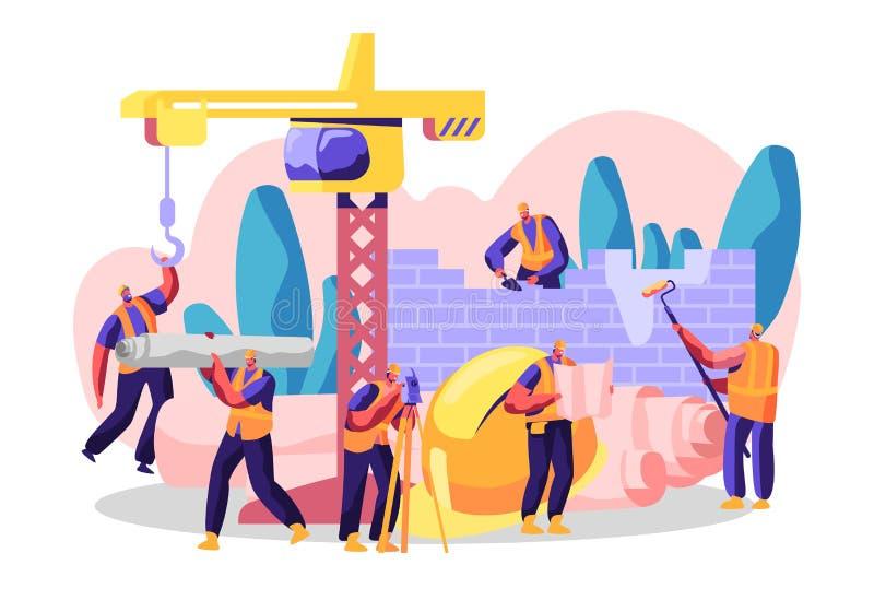 Het professionele Karakter bouwt Nieuwe Bouw, analyseert Plan en Plaats, Conceptwoonplaats, Commercieel Centrum of Winkel stock illustratie