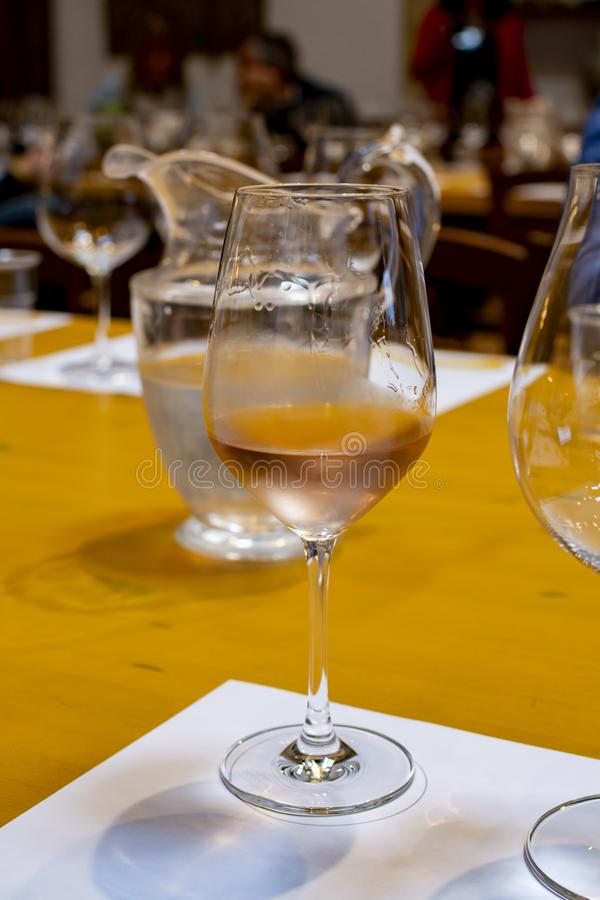 Het professionele wijn proeven, meer sommelier koude cursus, nam droge wijn in wijnglas toe royalty-vrije stock foto's