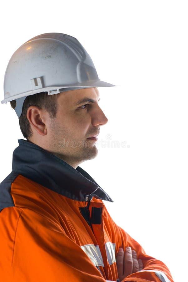 Het profiel van de mijnwerker stock afbeeldingen