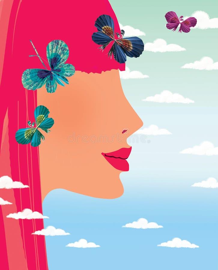 Het profiel van een jong meisje met rode haar en document vlinders tegen een gradiënthemel met cumulus betrekt stock illustratie