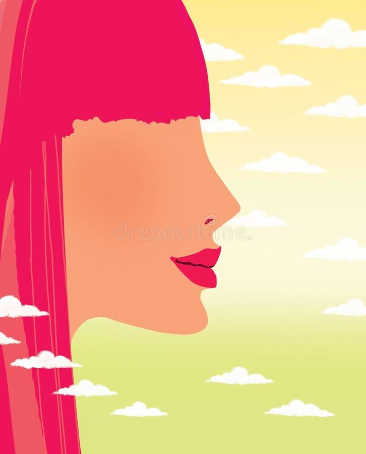 Het profiel van een jong meisje met rood haar tegen een gradiënthemel met cumulus betrekt stock illustratie
